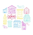 Houses and Clouds Color vector image vector image