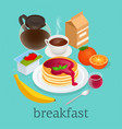 isometric concept of pancakes topped with berry vector image