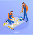 laying tiles isometric background vector image vector image