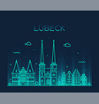 lubeck skyline germany trendy linear style vector image