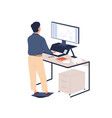male employee behind ergonomic furniture working vector image vector image