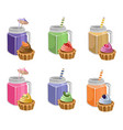 muffins and smoothie drinks set collection vector image