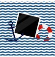 nautical background with photoframe vector image vector image