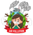 poster design for stop pollution with girl vector image vector image