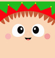 santa claus elf square head face icon merry vector image vector image