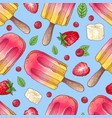 seamless pattern ice cream raspberry vector image vector image