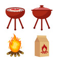 set for barbecue and grill with charcoal bonfire vector image vector image