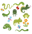 Set funny reptiles vector image
