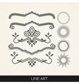set of line art elements for design sunburst and vector image