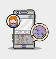 smartphone with girl chat bubble message vector image