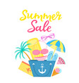 summer sale poster with beach bag air mattress vector image vector image