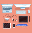 top view set of gadgets vector image vector image