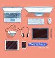 top view set of gadgets vector image vector image