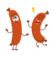 two funny sausage character with human face vector image