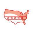 united states of maerica map with flag vector image vector image