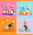 virtual reality orthogonal concept vector image vector image