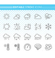 weather simple black line icons set vector image vector image