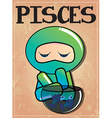 Zodiac sign Pisces with cute black ninja characte vector image vector image