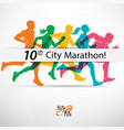 running people set of silhouettes competition vector image
