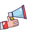 man hand with megaphone speaker message vector image
