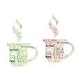 Tea tags cloud with cup shape vector image