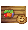 A wooden frame with five vegetables vector image