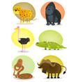 african wild animals set vector image vector image