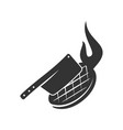barbecue beef knife logo template badge design vector image vector image