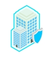 Building protect by shield icon isometric 3d vector image