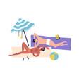 cartoon caucasian homosexual men sunbathing vector image vector image