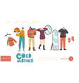 characters wearing warm clothes landing page vector image