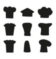 chef hats outline sketches set of black hat vector image