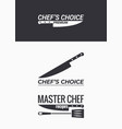 chef knife logo set on black and white background vector image