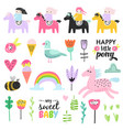 childish doodle with cute girls ponies and birds vector image
