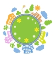 City around circle with building and road Round vector image vector image