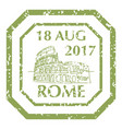 coliseum in rome on grunge postal stamp vector image