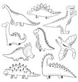 collection hand drawn dinosaurs perfect vector image