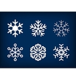 Collection of white snowflakes on blue vector image