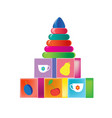 colorful children s toys children s developing vector image