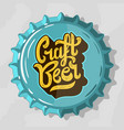 craft beer script lettering logo with top view vector image vector image