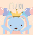 cute blue rabbit wearing crown with balloons vector image