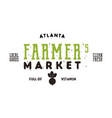 farmers market typography emblem design vintage vector image