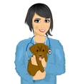 female asian veterinarian hugging cute little dog vector image
