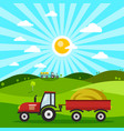 field with tractors tractor on meadow flat design vector image