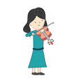 girl playing violin isolated on white background vector image vector image