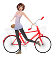 Girl with Bicycle2 vector image vector image