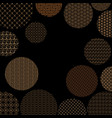 gold circles with different geometric patterns on vector image