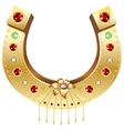 Golden Horseshoe decorated with precious stones vector image vector image