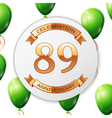 Golden number eighty nine years anniversary vector image vector image