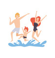 happy family having fun on beach mother father vector image vector image